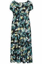 YoursClothing Plus Size Womens Tropical Floral Print Gypsy Maxi Dress Black