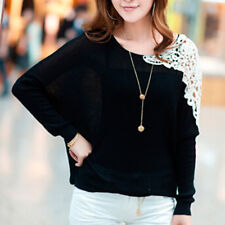 Women's Round Neck Batwing Long Sleeve Lace Crochet Patchwork Loose Fit Knit Top