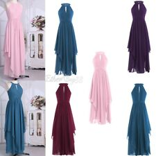 Women Halter Chiffon Cocktail Sleeveless Party Evening Gown Christmas Long Dress