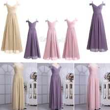 Women Ladies Chiffon Wedding Bridesmaid Long Dress Off Shoulder V Neck Prom Gown
