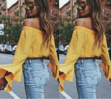 Women Solid Casual Off Shoulder Long Bell Sleeves Strapless Crop Top Blouses
