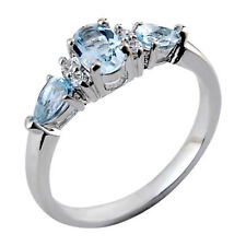 Sterling Silver Three Stone Sky Blue Topaz Oval & Pear Women Wedding Ring