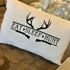 Eat Sleep Hunt Pillow Deer or Duck version 12x18 lumbar dad father duck hunting