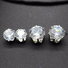 Gold or Silver 18KGP White Crystal Zircon Round Stud Earrings - 8mm / 6mm