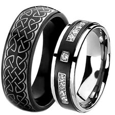 His Hers Ring Set Black Tungsten and Titanium Wedding Anniversary Promise Bands
