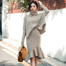 Women Solid Turtle Neck Long Sleeve Side Slit Sweater+Package Hip Fishtail Skirt