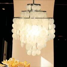 3-Light Chandelier with Round Capiz Seashells Natural White DIY Pendant Light