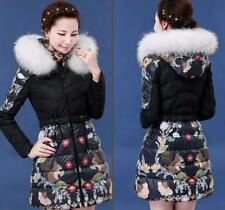 Womens parka Printed Hooded fur collar duck down coat Jacket slim winter Parkas