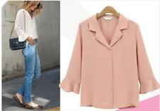 Women Solid Notched Neck Mid Ruffled Sleeves Button Down Shirts Tops Blouses