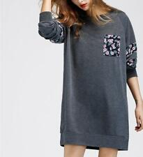 Women Floral Print Round Neck Long Sleeve Front Pocket Loose Pullover Mini Dress