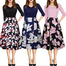 Women Floral Printed V Neck Mid Sleeves Pleated Back Zip Up Knee Length Dress