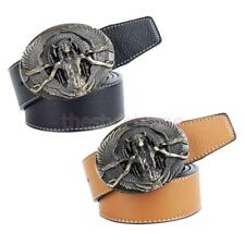 MagiDeal Native American Chief Cacique & Eagle Indian Buckle Leather Belt