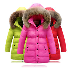 Winter jacket for girls with plush faux hair collar, hooded outerwear coat