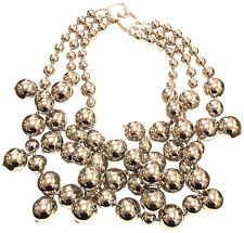 KENNETH JAY LANE-3 STRAND BEADS CLUSTER DROPS NECKLACE-SHINNY SILVER