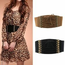 Women Elastic Buckle Wide Waistband Retro Lady Corset Stretch Cinch Waist Belt