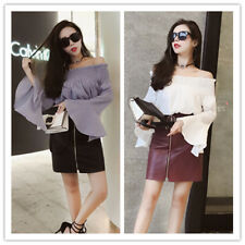 Women's Elastic Off Shoulder Ruffle Flare Sleeve Solid Top Blouse