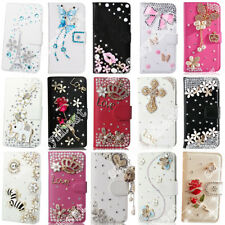 PU Leather Cover Rhinestone Flip Bling Wallet Stand Case Cards Slot For OPPO