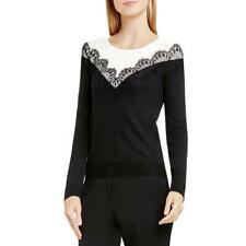 Vince Camuto 6808 Womens Colorblock Lace Trim Pullover Sweater Top BHFO