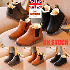 UK Kids Boys Girls Warm Flat Winter Ankle Boots Slip On Pumps Casual Shoes Size