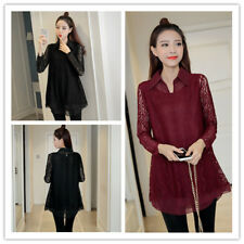 Women's Chiffon Lapel Lace Crochet Long Sleeve Two Pieces Tiered Top Blouse