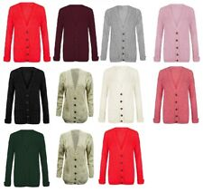Women Ladies Long Sleeve Button Top Chunky Aran Cable Knitted Grand Cardigan Lot