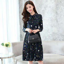 Women's Tie Neck Long Sleeve Front Buttons Floral Tunic Shift Pleated Midi Dress