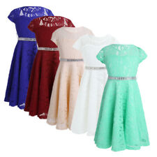 Flower Girl Princess Party Wedding Pageant Formal Bridesmaid Lace Floral Dress