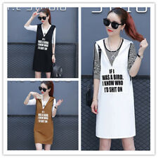 Women's Crewneck Tee + Letter Print Henley Neck Hooded Tank Dress Two Pieces