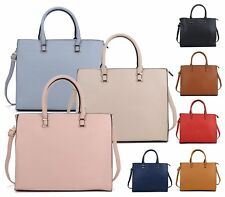 WOMENS HANDBAG FAUX LEATHER OFFICE METAL TRIM ELEGANT TOTE SHOPPER SHOULDER BAG