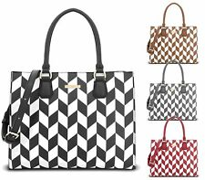 WOMENS HANDBAG FAUX LEATHER GEOMETRIC PRINT LYDC LARGE TOTE SHOPPER SHOULDER BAG