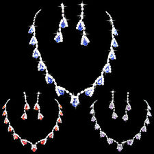CO_ Women Dazzling Cubic Zirconia Necklace Crystal Pendant Earrings Bridal Popul