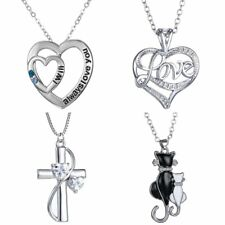 Women Silver Heart Cross Cats In Love Necklace Valentine's Day Couple Lover Gift