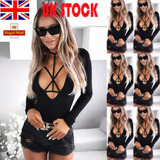 UK Womens Leotard Deep V Neck Bandage Bodysuit Long Sleeve Romper Mini Playsuit