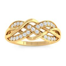 0.17ct GH SI Natural Round Diamonds Womens Infinity Ring Design Yellow Gold
