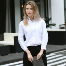 Women's Classic White OL Pointed Collar Button Up High-low Pocket Tops Shirts