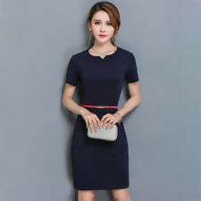 Women Solid Sweetheart Neck Belted Waist Short Sleeve Package Hip Slim Fit Dress