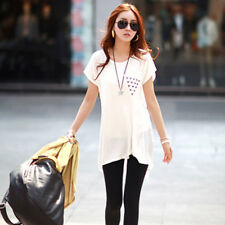 Women's Asymmetrical O Neck Back Chiffon Short Batwing Sleeve Rivet T-Shirt Tops
