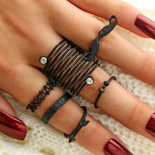 CO_ 6Pcs Mustache Bow Arrow Stacking Knuckle Rings Women Finger Ring Set Gift Be