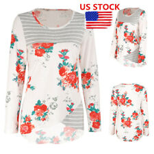 US Womens Floral Print Striped Tops Long Sleeve Casual Blouse Crew Neck Pullover