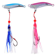 Perfeclan Lead Jigs Head Lure 80g Fishing Spoon with Squid Skirt Soft Lure