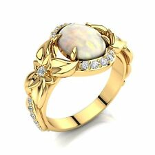 Flowers Engagement Ring, Unique 14k Solid Gold Opal and Diamonds Ring