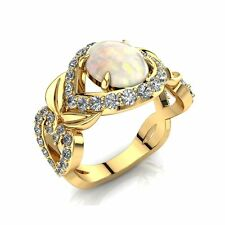 Opal and Diamonds Engagement Ring, 14k Solid Gold Art-Deco Engagement Ring