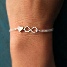 Gold Silver Lucky Number 8 Designed Love Heart Chain Bracelet Bangle Jewelry EF