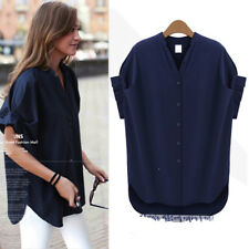 Women's Stylish Solid Mock Neck Puff Short Sleeve Button Up Chiffon Shirts Tops