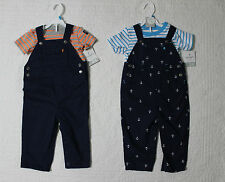 NEW CARTERS BOYS 2 PIECE SET SHORT SLEEVE SHIRT AND OVERALLS VARIOUS SIZES