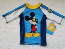 NEW BOYS DISNEY STORE SWIM SHIRT MICKEY MOUSE BLUE SUNGLASSES SIZE 4
