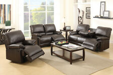 3 PC Set Sofa Loveseat Chaise Couch Recliner Leather Reclining Furniture Brown