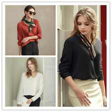 Women's Career OL Style Solid Loose V Neck Long Sleeve Shirt Top Blouse 3 Colors