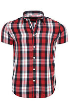 glo-story Check Shirt Men Short Sleeve Red mcs-3767 Leisure