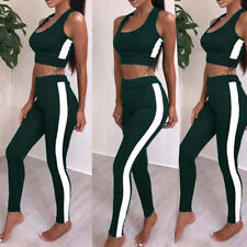 New 2Pcs Women Tracksuit Sweatshirt Pants Sets Sport Sleeveless Wear Casual Suit